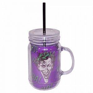 Copo jarra acrilico dco joker hahaha colorido 13 x 10,5 x 24
