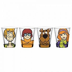 Set 4 Pcs Copo Vidro Dose Scooby Doo
