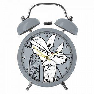 Relogio mesa despertador metal looney bug bunny big face