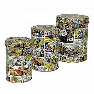 Set com 3 latas metal quadrinhos DC