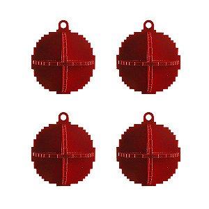 Kit bolas de Natal pixel vermelho