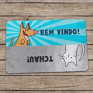 Capacho Cão e Gato Bem Vindo Tchau 60x40cm