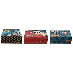 Kit 3 caixas decorativas  DC Batman Mulher Maravilha e Superhomem