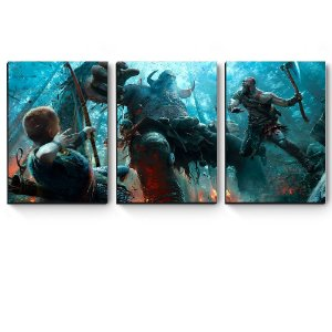 Kit 3 quadros MDF God Of War Troll