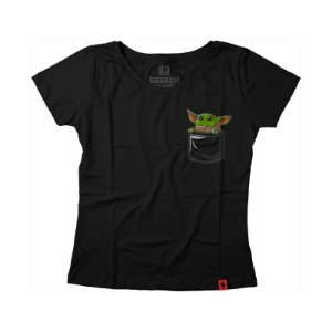 Camiseta Feminina Star Wars Pocket Baby Jedi