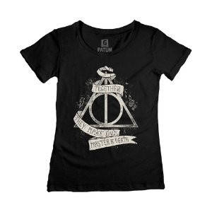 Camiseta Feminina Harry Potter Relíquias da Morte