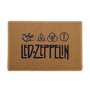 Capacho 60x40cm Vinil Led Zeppelin Logo Marrom