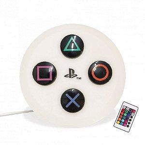 Luminária Playstation Botão Led RGB