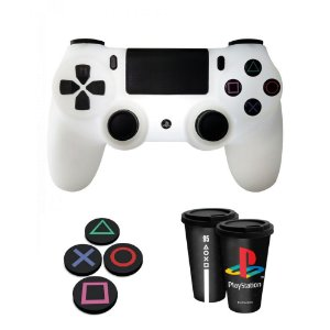 Combo Playstation com Luminária controle, copo fun e porta copos