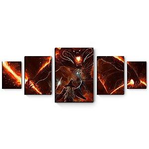 kit 5 quadros decorativos em mdf Senhor dos Anéis Gandalf x Balrog