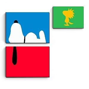 kit 3 quadros decorativos em mdf Snoopy Minimalista
