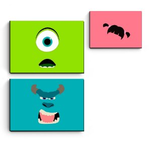 kit 3 quadros decorativos em mdf Monstros Minimalista