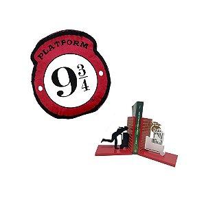 Combo plataforma 9 3/4 - almofada + aparador de livro