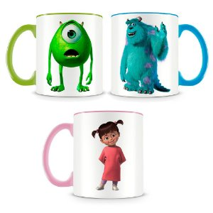 Kit 3 Canecas Monstros S.A Sulley, Mike e Boo