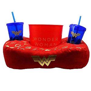 Kit Almofada Porta Pipoca Wonder Woman Símbolos