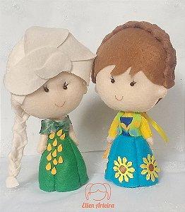 Boneca em Feltro Elsa e Anna Fever - 40 cm