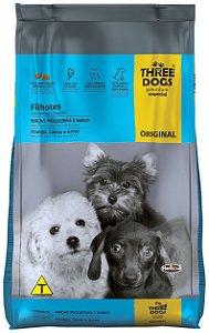 Ração Three Dogs Original Frango, Carne e Arroz para Cães Filhotes Raças Pequenas e Mini - 10,1Kg