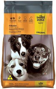Ração Three Dogs Original Frango, Carne e Arroz para Cães Filhotes Raças Médias e Grandes - 10,1Kg