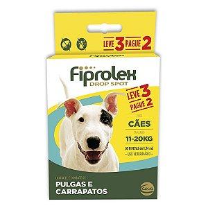 Antipulgas e Carrapatos Fiprolex Drop Spot Ceva para Cães de 11 até 20kg - Leve 3 Pague 2