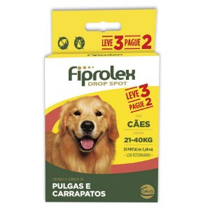 Antipulgas e Carrapatos Fiprolex Drop Spot Ceva para Cães de 21 até 40kg - Leve 3 Pague 2