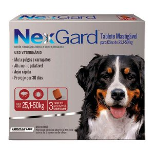 Nexgard Antipulgas E Carrapatos Cães 25,1 A 50kg C/3 Comprimidos