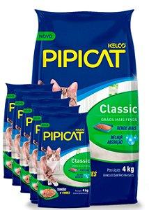6 Pacotes de 4kg - Areia Higiênica Pipicat Classic para Gatos