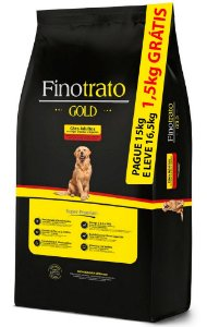 Ração Finotrato Gold Super Premium para Cães Adultos de Raças Grandes e Gigantes - PAGUE 15Kg E LEVE 16,5kg
