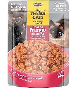 Ração Úmida Sachê Three Cats Premium Especial para Gatos Adultos Castrados Sabor Iscas de Frango ao Molho - 85g