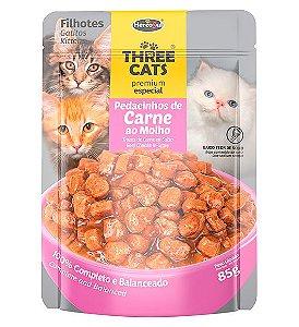 Ração Úmida Sachê Three Cats Premium Especial para Gatos Filhotes Sabor Pedacinhos de Carne ao Molho - 85g
