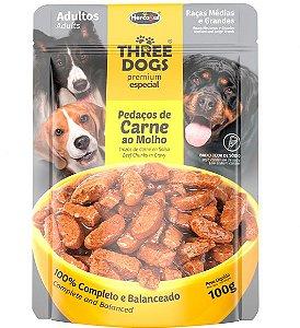 Ração Úmida Sachê Three Dogs Premium Especial para Cães Adultos Raças Médias e Grandes Sabor Pedaços de Carne ao Molho - 100g