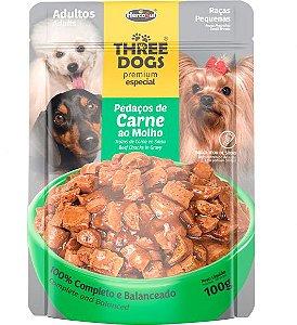 Ração Úmida Sachê Three Dogs Premium Especial para Cães Adultos Raças Pequenas Sabor Pedaços de Carne ao Molho - 100g