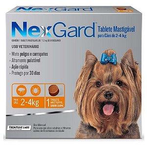 Nexgard Antipulgas e Carrapatos Cães 2 a 4kg C/1 Comprimido Avulso