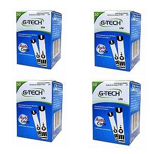Kit 200 Tiras Reagentes G-tech Free Lite Teste De Glicemia
