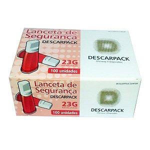 Lanceta De Segurança Automatica Descarpack 100 Unidades 23g Vermelha