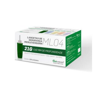 Lancetas De Segurança 21g Medlevensohn 100 Unidades