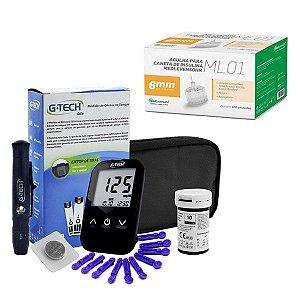 Aparelho Glicemia G-tech Lite E Agulha Caneta Insulina 6mm