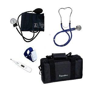 Kit Acadêmico Esfigmomanômetro Premium Estetoscopio Azul