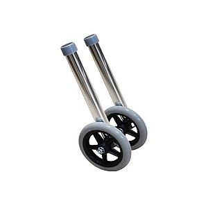 Par De Rodas Para Andador Dianteira Aluminio Adulto Dellamed