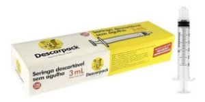 Seringa 3ml Bico Luer Lock Descarpack - 100 unidades