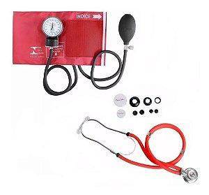 Esfigmomanômetro E Estetoscópio Premium Rappaport - Vermelho