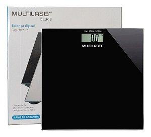 Balança Digital Vidro Temperado 180kg Multilaser - Preta