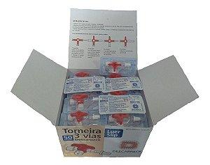 Torneirinha 3 vias Luer Slip Descarpack Vermelha - 50 unidades