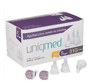 Agulha Para Caneta De Insulina 5mm 31g Com 100un - Uniqmed