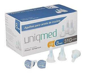 Agulha Para Caneta De Insulina 8mm 31g Com 100un - Uniqmed