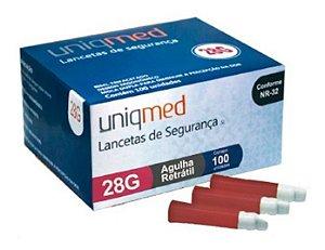 Auto Lancetas De Segurança Uniqmed Retratil 28g - 100un