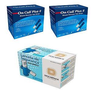 100 Tiras Glicemia On Call Plus Il + 100 Lancetas Automática