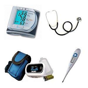 Kit Enfermagem Aparelho De Pressão Oximetro Estetoscópio simples