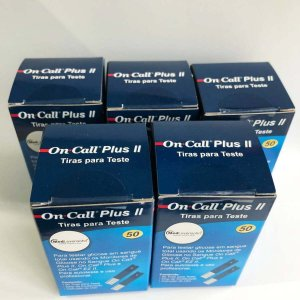 Kit 250 Tiras Medir Glicose On Call Plus II Chip Codificador