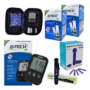 Kit Monitor Glicose Medir Glicemia 100 Tiras 100 Lancetas G-tech