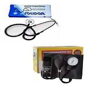 Kit Estetoscópio Solidor Duplo E Esfigmomanômetro Premium